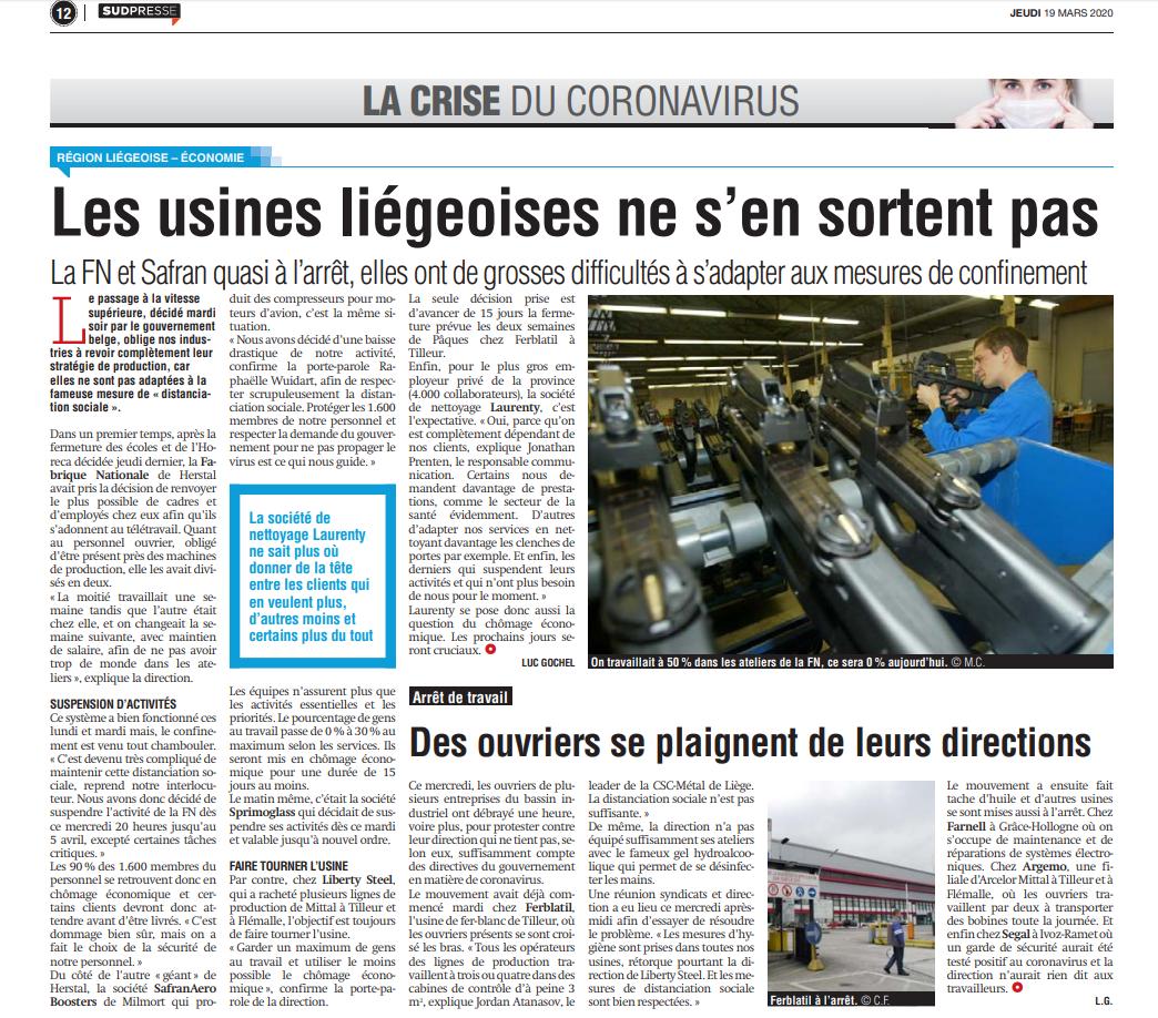 Article Laurenty dans La Meuse 19 mars 2020