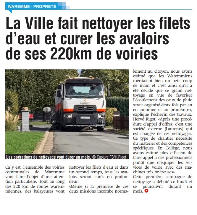 Wegenonderhoud & kolkenreiniging in de gemeente Waremme - La Meuse - 14-10-20