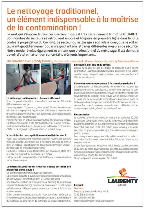 """""""Le nettoyage traditionnel, un élément indispensable à la maîtrise de la contamination"""" - Le Courrier Europeen (LCP)"""