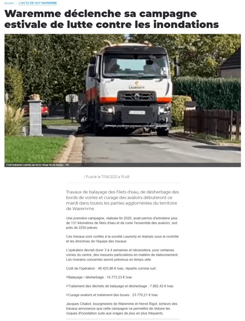 Curage d'avaloir et nettoyage de voirie Laurenty - La Meuse - 14-10-20